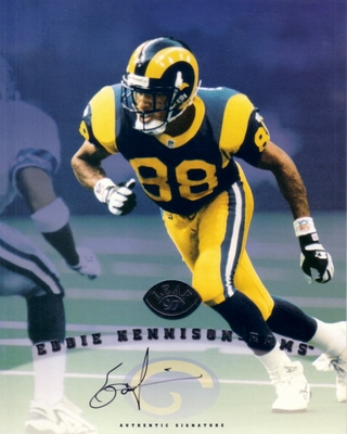 Eddie Kennison certified autograph St. Louis Rams 1997 Leaf 8x10 photo card