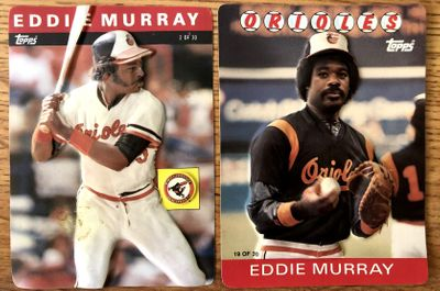 Eddie Murray Baltimore Orioles 1985 and 1986 Topps 3D jumbo cards