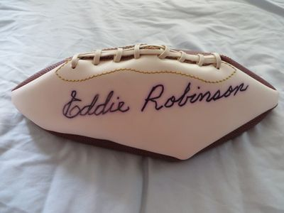 Eddie Robinson autographed full size white panel football