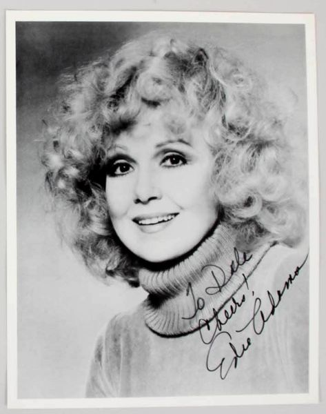 Edie Adams autographed 8x10 black and white portrait photo (to Dale)