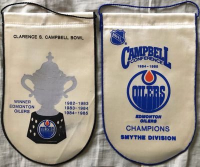 Edmonton Oilers 1984-85 Campbell Trophy Winners and Smythe Division Champions mini banners (Wayne Gretzky)