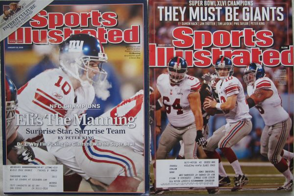 Eli Manning set of 2 different New York Giants Sports Illustrated magazines