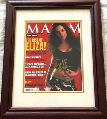 Eliza Dushku autographed 2001 Maxim magazine cover double matted and framed