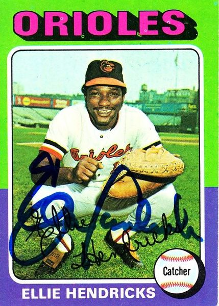 Ellie Hendricks autographed Baltimore Orioles 1975 Topps card