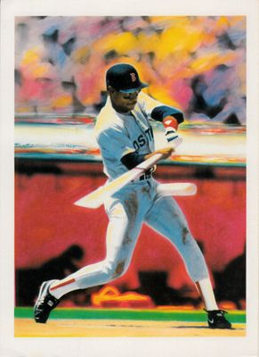 Ellis Burks Boston Red Sox baseball artwork postcard