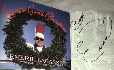 Emeril Lagasse autographed Emeril's Creole Christmas hardcover cookbook inscribed BAM