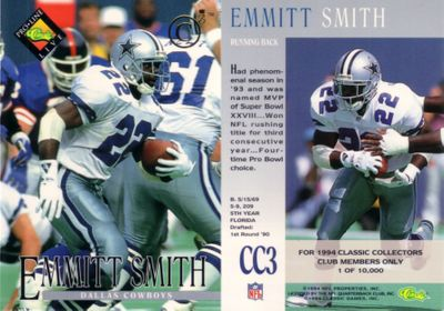 Emmitt Smith 1994 Classic Pro Line Collectors Club promo card