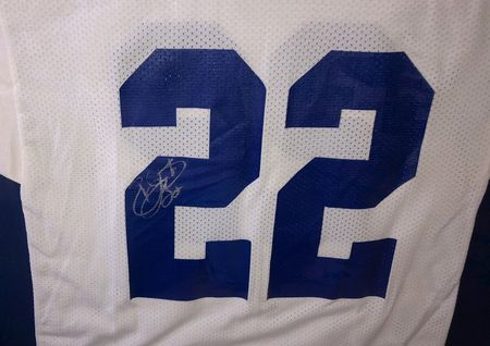 Emmitt Smith autographed Dallas Cowboys authentic Russell jersey matted and framed (JSA)