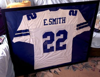 Emmitt Smith autographed Dallas Cowboys authentic Russell Athletic jersey matted and framed (JSA)
