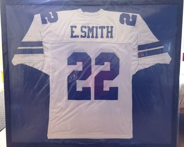 Emmitt Smith autographed Dallas Cowboys authentic Russell Athletic jersey matted & framed (JSA)