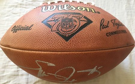 Emmitt Smith autographed Wilson NFL 75th Anniversary 1994 game model leather football