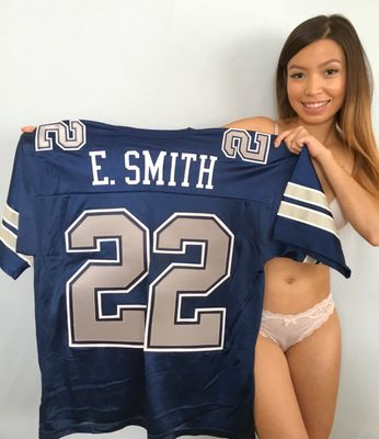 Emmitt Smith Dallas Cowboys 1990 ROOKIE SEASON style authentic Russell Athletic blue triple stitched jersey