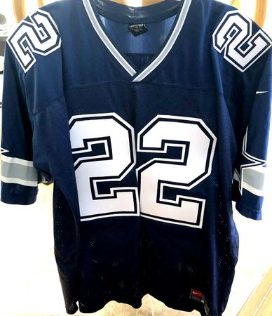 Emmitt Smith Dallas Cowboys authentic Nike blue double star stitched late 1990s jersey