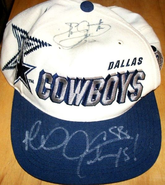 Emmitt Smith and Michael Irvin autographed Dallas Cowboys cap or hat (JSA)