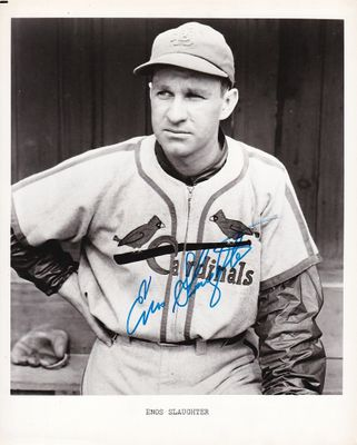 Enos Slaughter autographed St. Louis Cardinals 8x10 black and white photo