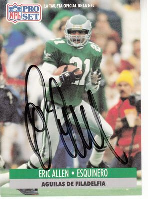 Eric Allen autographed Philadelphia Eagles 1991 Pro Set card