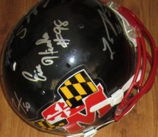 LaMont Jordan Jermaine Lewis Chad Scott Eric Barton Eric Hicks autographed Maryland Terrapins authentic full size throwback Schutt Air helmet