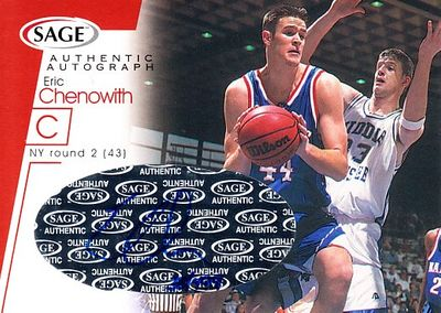 Eric Chenowith Kansas Jayhawks 2001 SAGE certified autograph card #38/499
