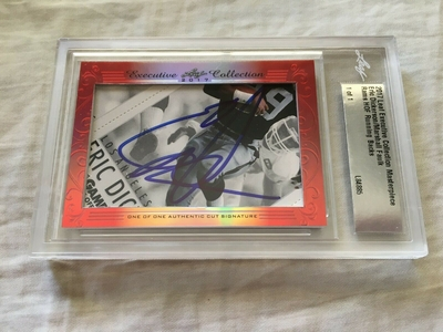 Eric Dickerson and Marshall Faulk 2017 Leaf Masterpiece Cut Signature certified autograph card 1/1 JSA