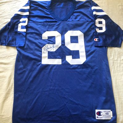 Eric Dickerson autographed Indianapolis Colts authentic Champion stitched blue jersey