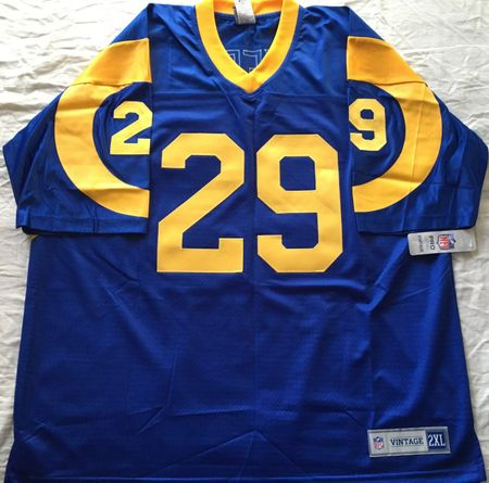 Eric Dickerson autographed Los Angeles Rams stitched NFL Vintage throwback jersey inscribed HOF 99