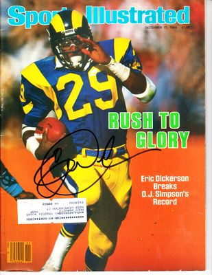 Eric Dickerson autographed Los Angeles Rams 1984 Sports Illustrated