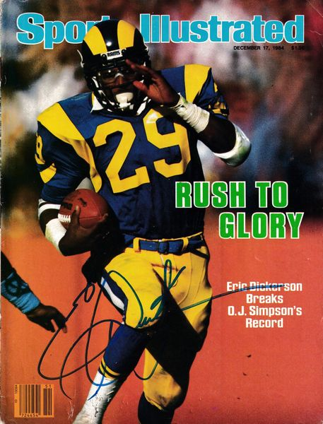 Eric Dickerson autographed Los Angeles Rams 1984 Sports Illustrated (no subscription label)