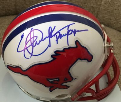 Eric Dickerson autographed SMU Mustangs mini helmet inscribed Pony Express