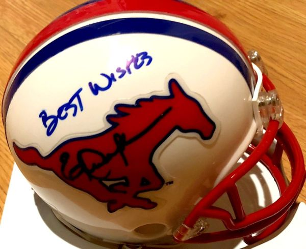 Eric Dickerson autographed SMU Mustangs mini helmet inscribed BEST WISHES