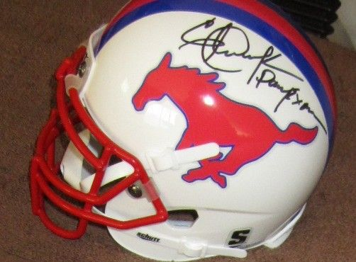 Eric Dickerson and Craig James autographed SMU Mustangs mini helmet inscribed Pony Express (JSA)
