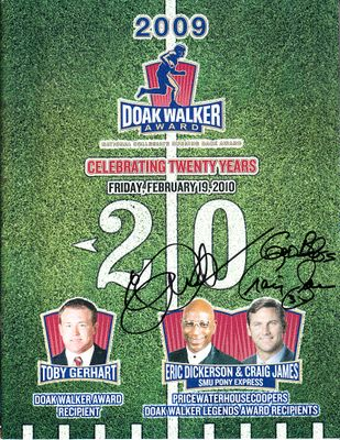 Eric Dickerson and Craig James autographed SMU Pony Express 2009 Doak Walker Award program