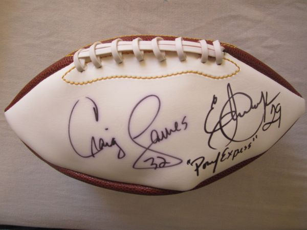 Eric Dickerson and Craig James autographed full size white panel football inscribed Pony Express