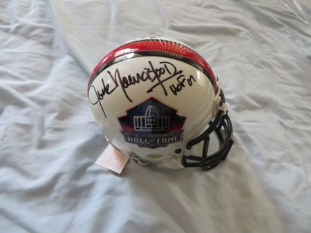 Eric Dickerson and Jack Youngblood autographed Pro Football Hall of Fame authentic mini helmet