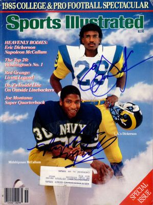 Eric Dickerson and Napoleon McCallum autographed 1985 Sports Illustrated
