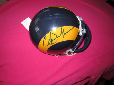 Eric Dickerson and Vince Ferragamo autographed Los Angeles Rams throwback mini helmet