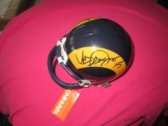 Eric Dickerson & Vince Ferragamo autographed Los Angeles Rams throwback mini helmet