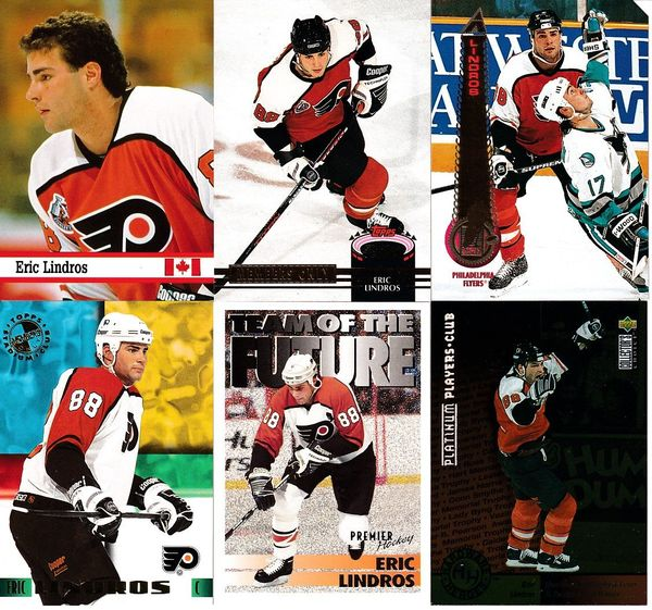 6 Eric Lindros Philadelphia Flyers cards 1993 Fax Pax 1994-95 Pinnacle Promo 1996-97 Collector's Choice Platinum Player's Club
