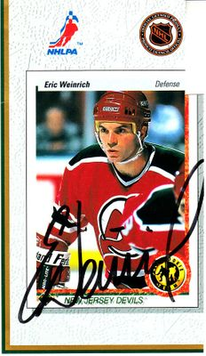 Eric Weinrich autographed New Jersey Devils 1990 Upper Deck card sheet cut signature