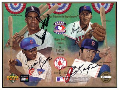 Ernie Banks Minnie Minoso Earl Wilson Carl Yastrzemski autographed 1993 Upper Deck card sheet