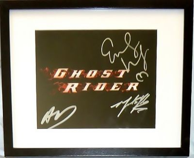 Eva Mendes autographed Ghost Rider movie logo 8x10 photo matted & framed