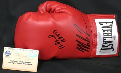 Evander Holyfield and Mike Tyson autographed Everlast boxing glove (Steiner)