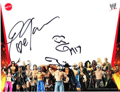Eve Torres & The Miz autographed WWE wrestling Mattel promo photo