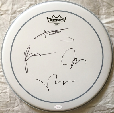 Fall Out Boy complete band autographed Remo drumhead (JSA)