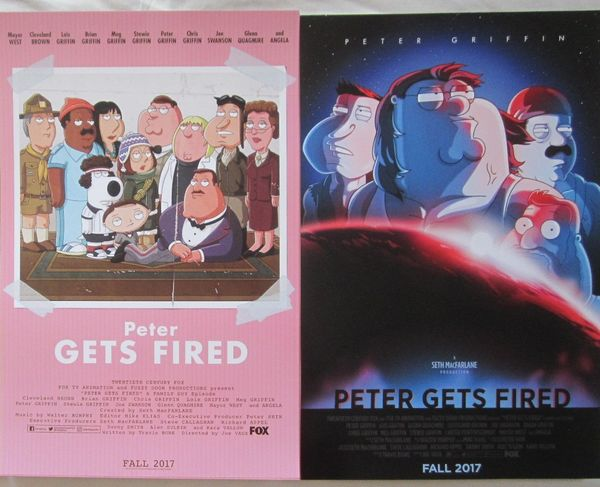 Family Guy Peter Gets Fired set of 2 2017 Comic-Con mini 11x17 posters