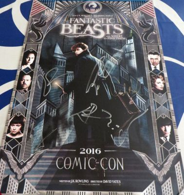 Fantastic Beasts cast autographed 2016 Comic-Con exclusive movie poster (Colin Farrell Eddie Redmayne)