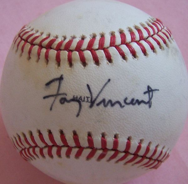 Fay Vincent autographed 1989 World Series baseball