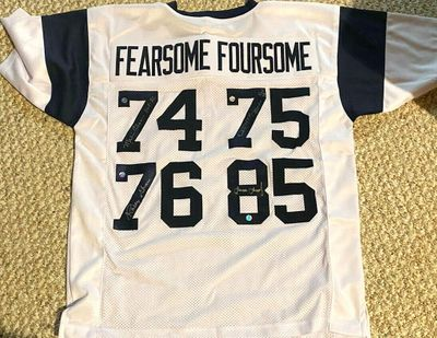 Deacon Jones Merlin Olsen Lamar Lundy Rosey Grier autographed FEARSOME FOURSOME Los Angeles Rams stitched jersey