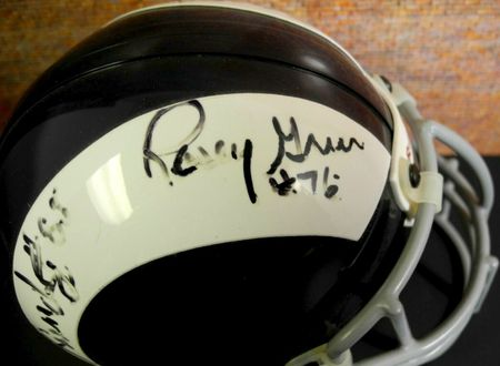 Deacon Jones Lamar Lundy Merlin Olsen Rosey Grier (Fearsome Foursome) autographed Los Angeles Rams authentic mini helmet