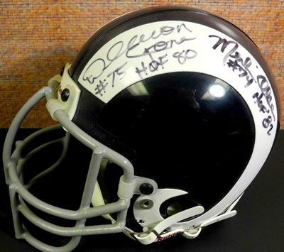Deacon Jones Lamar Lundy Merlin Olsen Rosey Grier (Fearsome Foursome) autographed Los Angeles Rams authentic mini helmet JSA