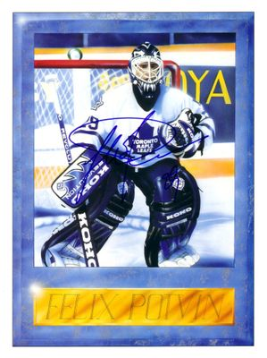 Felix Potvin autographed Maple Leafs Beckett Hockey inside art cover